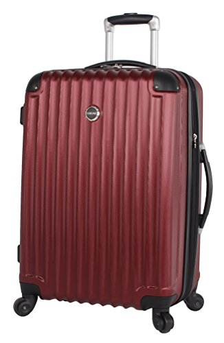 Lucas Outlander Luggage Hard Case 24 inch Expandable Rolling Suitcase With Spinner Wheels (24in, Outlander Red)