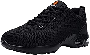 DYKHMILY Lightweight Safety Shoes Women Steel Toe Cap Trainers Womens Work Shoes Soft Breathable Industrial Protective Work Sneakers(Pure Black,8 UK)