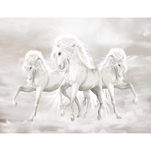 Fototapete Einhorn Pferde Himmel 352 x 250 cm Vlies Tapeten Wandtapete XXL Moderne Wanddeko Wohnzimmer Schlafzimmer Büro Flur Beige Weiss 9450011b