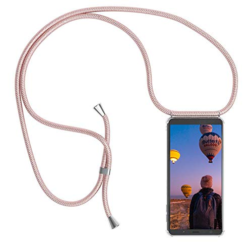 Funda con Cuerda para Samsung Galaxy A5 (2017), Carcasa Transparente TPU Suave Silicona Cover Case Cubierta con Colgante Ajustable Collar Correa de Cuello Cadena Cordón/Funda Colgante movil con Cuerda