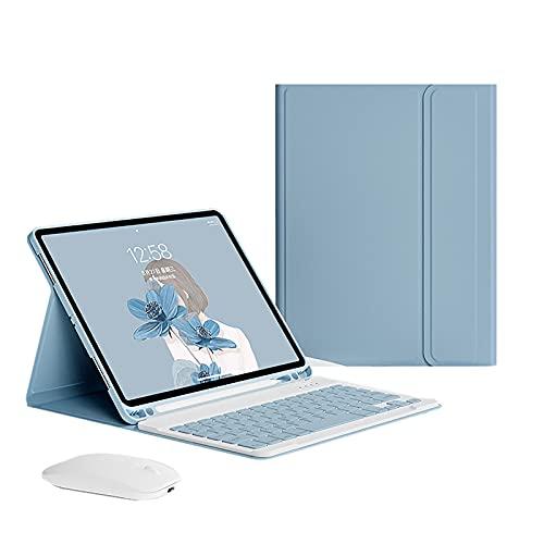 Teclado Bluetooth para Funda para iPad Pro 11 Pulgada 2021, Cubierta Protectora De Soporte con Teclado Inalámbrico Desmontable, Soporte De Pluma Incorporado, Auto Wake/Sleep,Azul