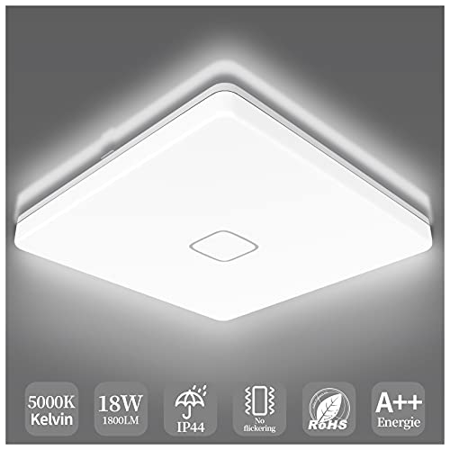 Airand 5000K LED Ceiling Light Flush Mount Ceiling Lamps 18W LED Ceiling Light Fixture,10.6 inch Square LED Light Fixture for Home & Office, Hallway with 180Pcs LED Chips, 1800LM, 80Ra+ (Cool White)