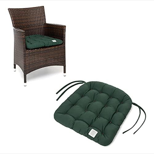 HAVE A SEAT Luxury - Sitzkissen Outdoor, Sitzpolster Gartenstuhl, Sitzauflage Rattanstuhl, bequem, robust, pflegeleicht, waschbar bei 95°C, Trockner geeignet (2er Set - 48x46 cm, Moosgrün)
