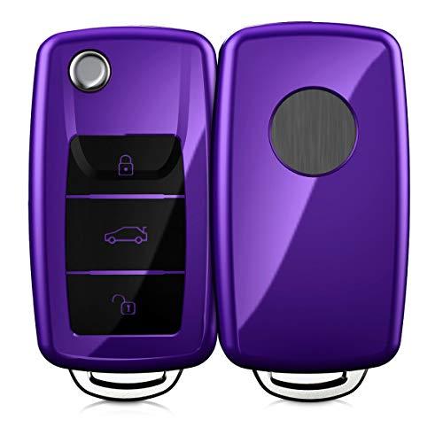 kwmobile Autoschlüssel Hülle kompatibel mit VW Skoda Seat 3-Tasten Autoschlüssel - TPU Schutzhülle Schlüsselhülle Cover in Hochglanz Violett