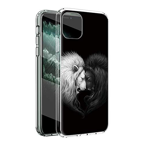 ZhuoFan Funda para LG Q70 Transparente Cárcasa Silicona con Dibujos Diseño Suave TPU Antigolpes de Protector Ultra Fina Piel Case Cover para LG Q70 6,4', León 2