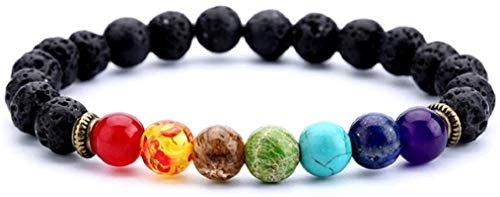 Matchless Chakra Bead Stretch Bracelet Aromatherapy Lava Rock Stone Bracelet Men Women Stress Relief Yoga Beads Natural Mineral Bead Bracelets, 7 Chakras (Lava Rock)