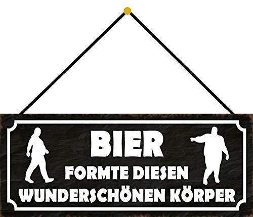 FS Bier gevormd lichaam blikken bord gewelfd Metal Sign 10 x 27 cm met koord