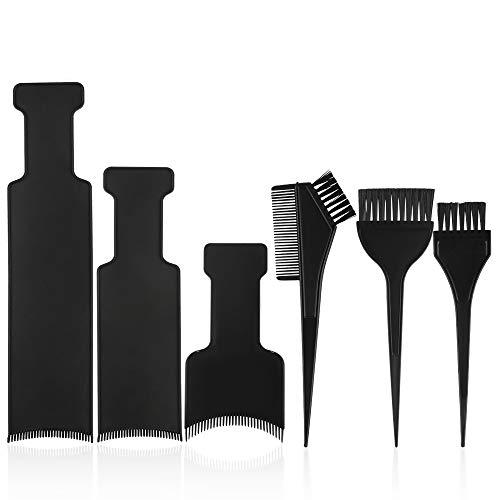 Yangfei 6pcs Pinceaux de Coloration des Cheveux et Palette à Mèches, Brosse de Teinture Plaque Peigne Mèche Pour Teinture de Cheveux au Salon et Domicile-Accessoires de Coloration(Noir)