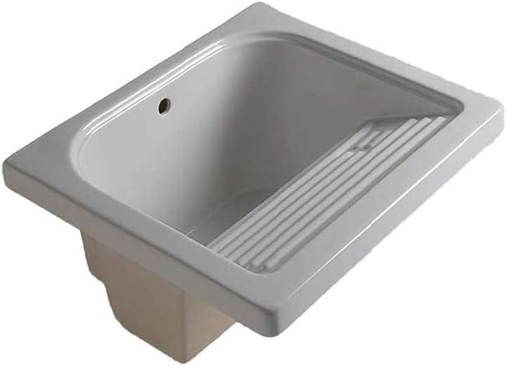 Lavatoio da incasso 60x60 con strizzatoio integrato, in ceramica bianca B08ZKZQG4S