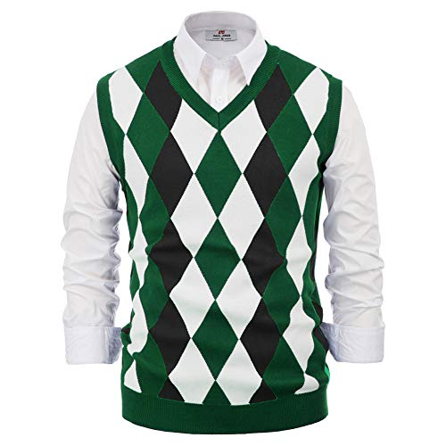 PJ PAUL JONES Mens V-Neck Sleeveless Pullover Knitwear Argyle Knit Golf Sweater Vest Green L