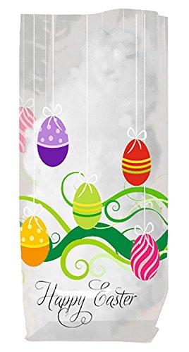 Ursus 5250000 - Geschenk Bodenbeutel, Frohe Ostern, 10 Stück, aus lebensmittelechter Folie, ca. 11,5 x 19 cm, transparent, bedruckt, ideal für kleine Überraschungen