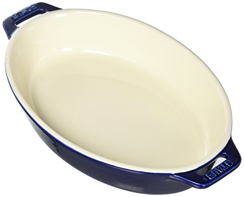STAUB Ceramics Oval Baking Dish, 9-inch, Dark Blue