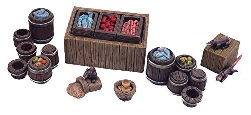 War World Gaming Fantasy Village - Puesto de Mercado y barriles - 28mm Wargaming Medieval Miniaturas Maquetas Dioramas Edificios Wargames Guerra Aldea Edad Media