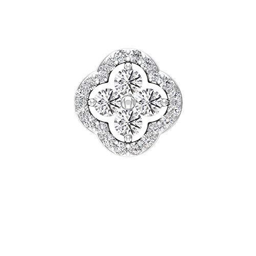 Pendientes de flor de diamante con certificado SGL de 0,43 ct, para dama de honor, para boda, cartílago, caracola de hélice, joyería del cuerpo, para fiesta, Oro blanco Espalda plana 8mm