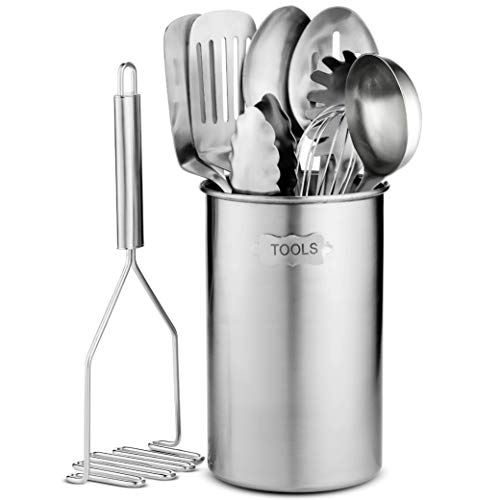 Stainless Steel Kitchen Utensil Set - 10 piece premium Non-Stick & Heat Resistant Kitchen Gadgets, Turner, Spaghetti Server, Ladle, Serving Spoons, Whisk, Tungs, Potato Masher and Utensil Holder