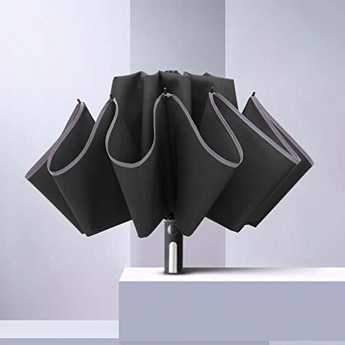 ZKHD Paraguas Al Aire Libre Totalmente Automático, Paraguas Plegable con Tiras Reflectantes, Soporte De Paraguas A Prueba De Viento De Aleación De Aluminio, Resistente Al Agua Y Más Duradero,Negro