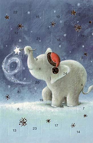Adventskalenderkarten Set 5 Karten Nostalgie Grußkarten Goldprägung Kunstkarte Weihnachtskarte Adventskalender Frohe Weihnachten Weihnachtsmann Winter