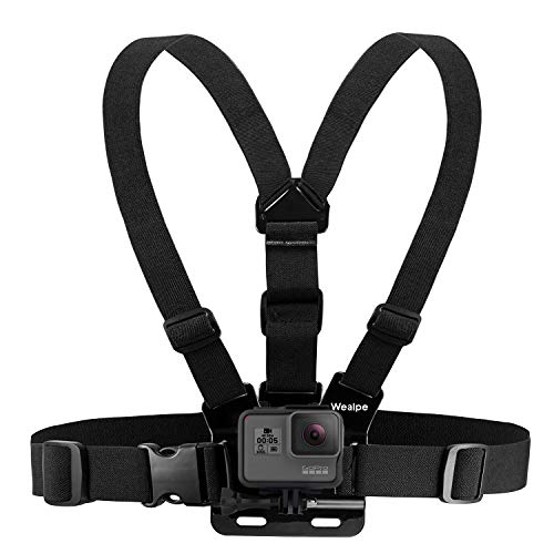 Wealpe Brustgurt Halterung Brusthalterung Chest Mount Kompatibel mit GoPro Hero 8, Hero 7, Max, Fusion, Hero (2018), 6, 5, 4, Session, 3+, 3, 2, 1, Xiaomi Yi Kameras