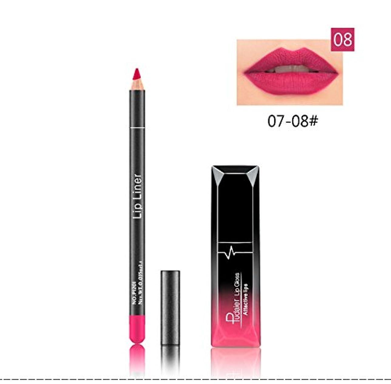 決定現れるベリ(08) Pudaier 1pc Matte Liquid Lipstick Cosmetic Lip Kit+ 1 Pc Nude Lip Liner Pencil MakeUp Set Waterproof Long Lasting Lipstick Gfit