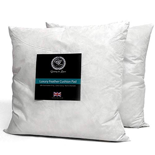 HIT(UK)LIMITED Feather Cushion British Extra Filled Duck Inner Pads Insert Fillers (Pack Of 4 18'x18'