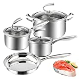 Kitchen Cookware Sets 7-Piece Induction Stainless Steel Pots and Pans Set with Lid Kitchenware Cooking Pot and Pan Set Dishwasher Safe Silver