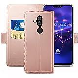 YATWIN Handyhülle für Huawei Mate 20 Lite Hülle Premium Leder Flip Schutzhülle mit Kreditkarten, Geldfächern & Standfunktion für Huawei Mate 20 Lite Handytasche, Rose Gold