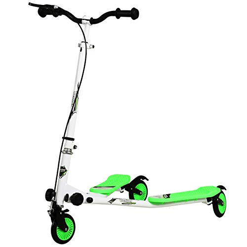 Uenjoy Kinderscooter Kinder schwingen Roller 3 Räder Faltbarer schwingen Roller Y Wiggle Scooter 3-stufiger, höhenverstellbarer für Jungen ab 5 Jahren Mädchen und Erwachsene-Weiß-Grün