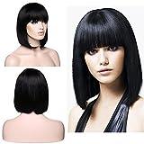 SEGO Parrucca Capelli Veri Brasiliani Wigs - Nero Naturale - BOB Lisci Donna Wig Human Hair Umani Straight Parrucche 130g - 30cm (Senza Lace)