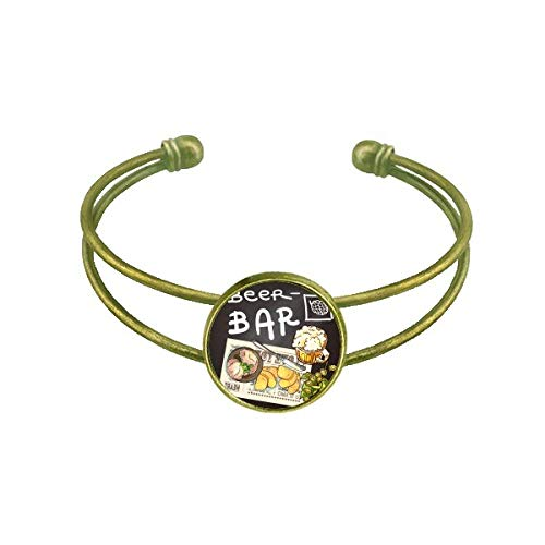 DIYthinker Steak Bar France Toast Beer Bracelet Bangle Retro Open Cuff Jewelry