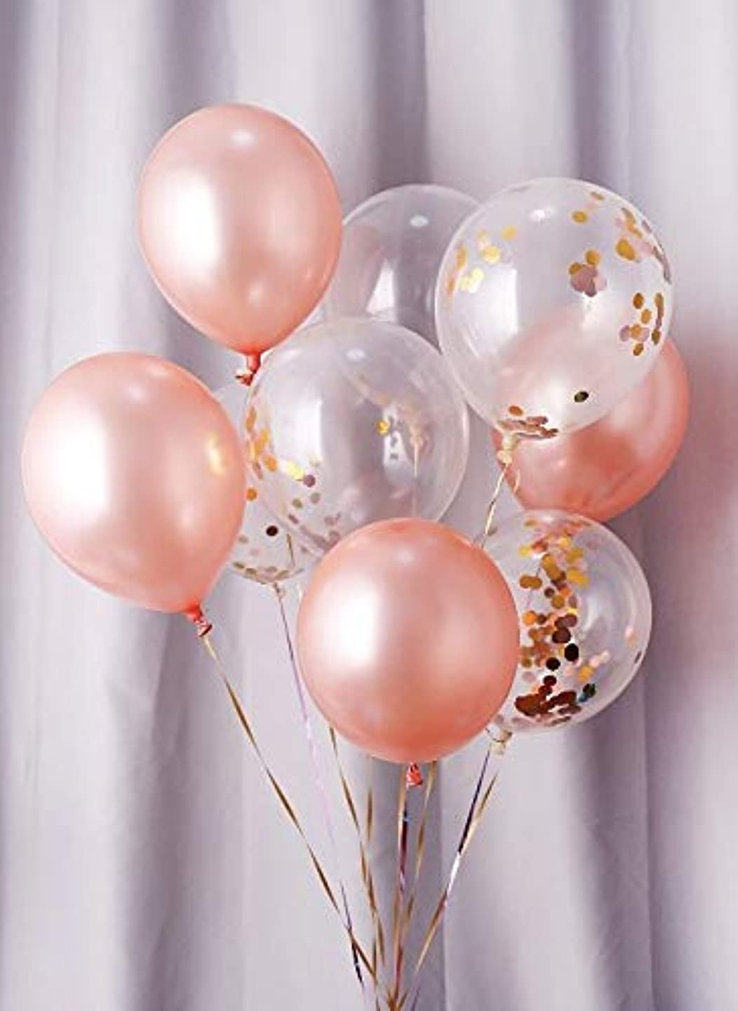 40 Pieces Rose Gold Balloons & Rose Gold Confetti Balloons, 12 Inches Party Balloons + Ribbon for Party Decorations, Wedding Decorations, Baby Shower Decorations and Proposal (Rose)