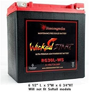 2013 HARLEY STREET GLIDE REPLACEMENT BATTERY; RG30L-WS Wicked Start 600+ CCA's; Part# BTX30L, B30L-B, CB30L-B, YIX30L, 66010-97A/66010-97B/66010-97C