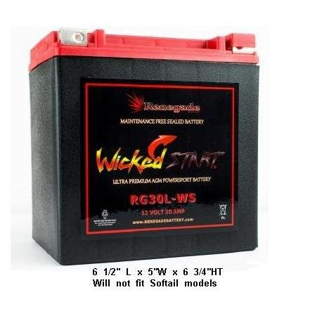 2014 HARLEY STREET GLIDE/STREET GLIDE SPECIAL REPLACEMENT BATTERY; RG30L-WS Wicked Start 600+ CCA's; Part# BTX30L, B30L-B, CB30L-B, YIX30L, 66010-97A/66010-97B/66010-97C