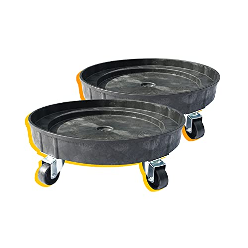 30 Gallon and 55 Gallon Heavy Duty Plastic Drum Dolly – Durable Plastic Drum Cart 900 lb. Capacity- Barrel Dolly with Swivel Casters Wheel,Black, 2 Packs