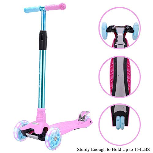 Kick Scooter for Kids 3 Wheel Scooter,4 Height Adjustable(2-14 Years) PU Wheels with Extra Wide Deck Best Gifts for Kids, Boys and Girls