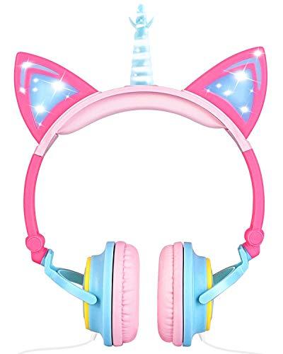 Cuffie Unicorno Bambina, Sunvito cuffie gatto orecchie led, Cuffie per Bambini Unicorno con filo, 85dB Volume, Pieghevoli cuffie bambine Compleanno Natale Regalo