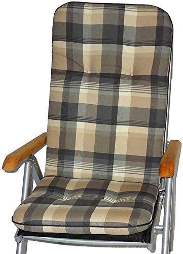 Beo Gartenstuhlauflage Sitzkissen Polster Stuhlkissen für Hochlehner mit braun grau kariert