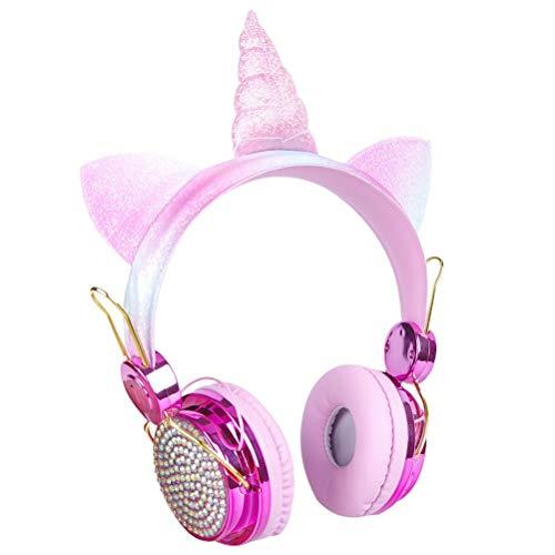 Tianbi Kinder Kopfhörer Bluetooth Kopfhörer für Mädchen Einstellbar mit Mic Cartoon Headset Head-Mounted-Wireless Headset LED Licht Bluetooth Drahtlose Kopfhörer