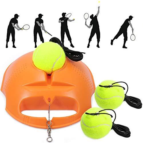 Fostoy Allenatore di Tennis, Set di Allenatori di Tennis Base per Allenatore con 3 Palle di Rimbalzo, Strumento di Allenamento per Allenamenti Solitari Adulto Bambini Giocatore Principiante (Arancia)