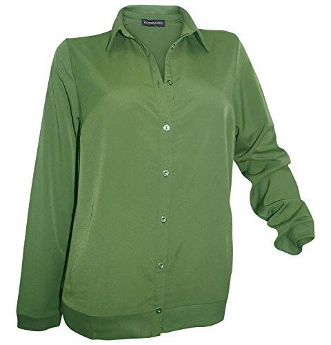 Patrizia Dini Blusenjacke 46 Oliv Bluse Jacke Hemdkragen Material Mix