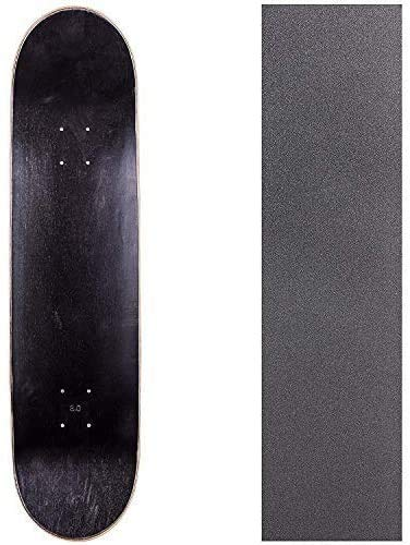 Cal 7 Blank Skateboard Deck with Grip Tape | 7.75, 8.0, 8.25 and 8.5 Inch | Maple Board for Skating (Black/Natural, 7.75 inch)