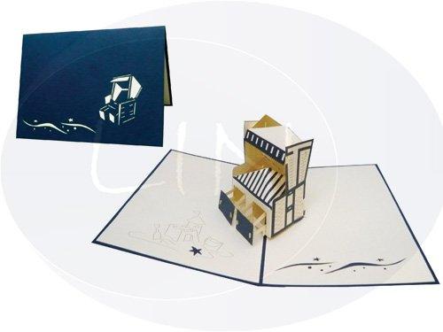 LIN-POP UP 3D Karten Gutscheinkarten Reise Geburtstagskarten, Strankorb