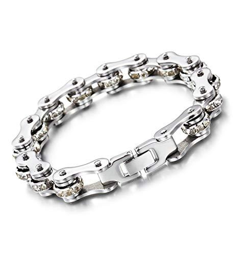 Aimrio Herren Armband Titan Kette Handgelenk Band Armband 12MM Fahrradkette Weiß Herren Punk Biker Armband