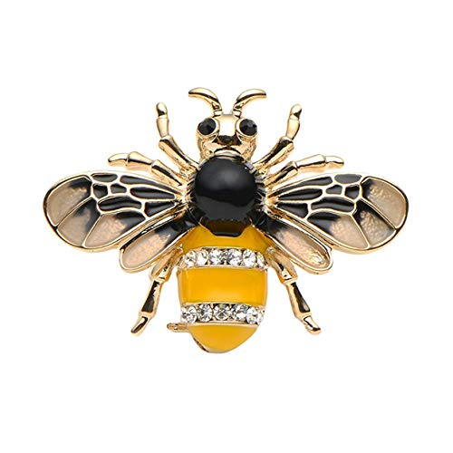 EJY Crystal Honeybee Brooches Pins Christmas Wedding Gift for Women (gold)