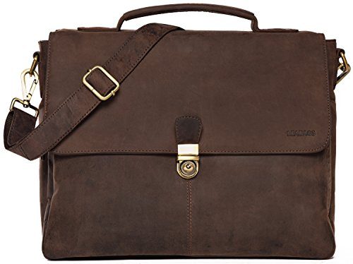 LEABAGS Texas Aktentasche Umhängetasche 13 Zoll Laptoptasche aus echtem Leder im Vintage Look (Muskat)