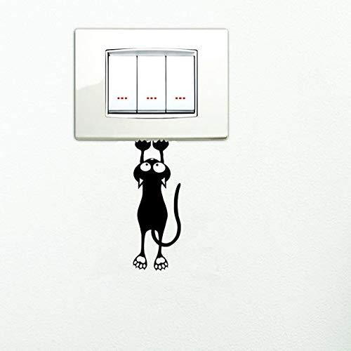 Etiqueta engomada del interruptor del gatito lindo negro para la decoración del hogar vinilo calcomanías de fondo de la sala de estar pegatinas de pared de gato de dibujos animados individualidad