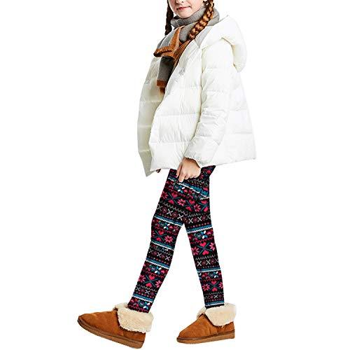 Libella Kinder Thermo Legging Mädchen Jungen Warm Winterlegging Weihnacht Fleece Dicke Stretchose Hochtaille 4151C-122/128
