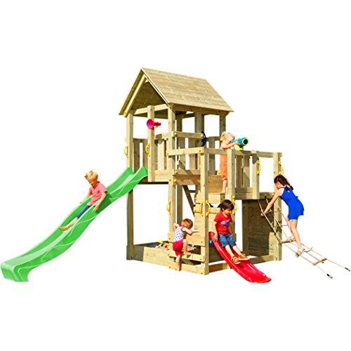 Blue Rabbit Spielturm Penthouse mit Rutsche 2,90 m + Babyrutsche + Kletternetz Farbe Grün