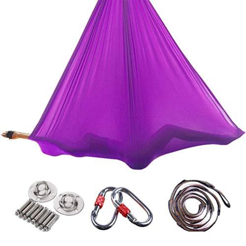 RAOMAL Yoga DIY Silk Pilates Premium Aerial Silks Equipment Aerial Yoga Tuch Aerial Silk elastische Yoga Hängematte mit Stoff Zubehör 5 Meter...