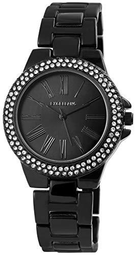 Excellanc Damen-Uhr Gliederband Metall Strass Faltschließe Analog Quarz 1800140 (schwarz)