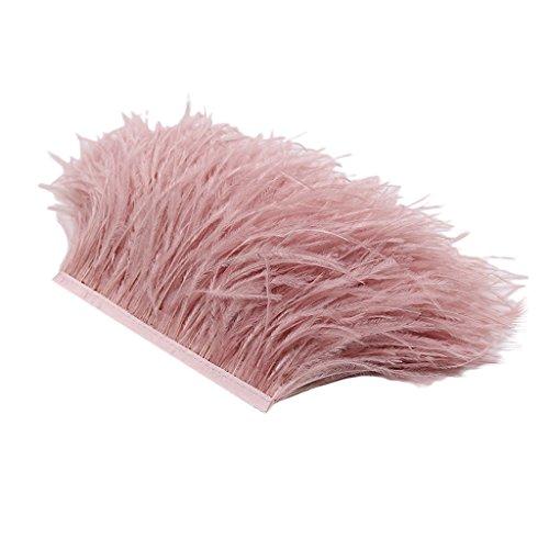MagiDeal 1 Yarda de Adorno de Pluma de Avestruz Elegante Accesorios Decorativos para Ropa Bolsos - Desnudo Rosa